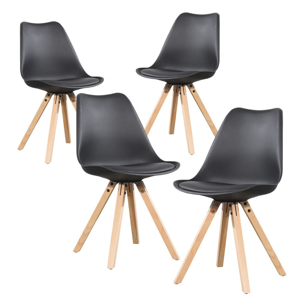 Kit 4 Sillas tipo eames modelo Oviedo color Negro