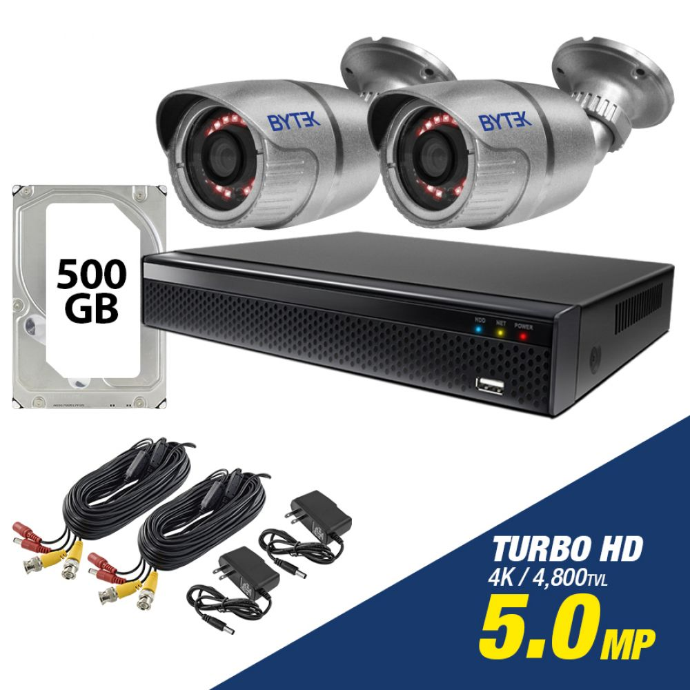 Kit de 2 camaras de 5.0mp Turbo HD 4K + disco duro 500GB
