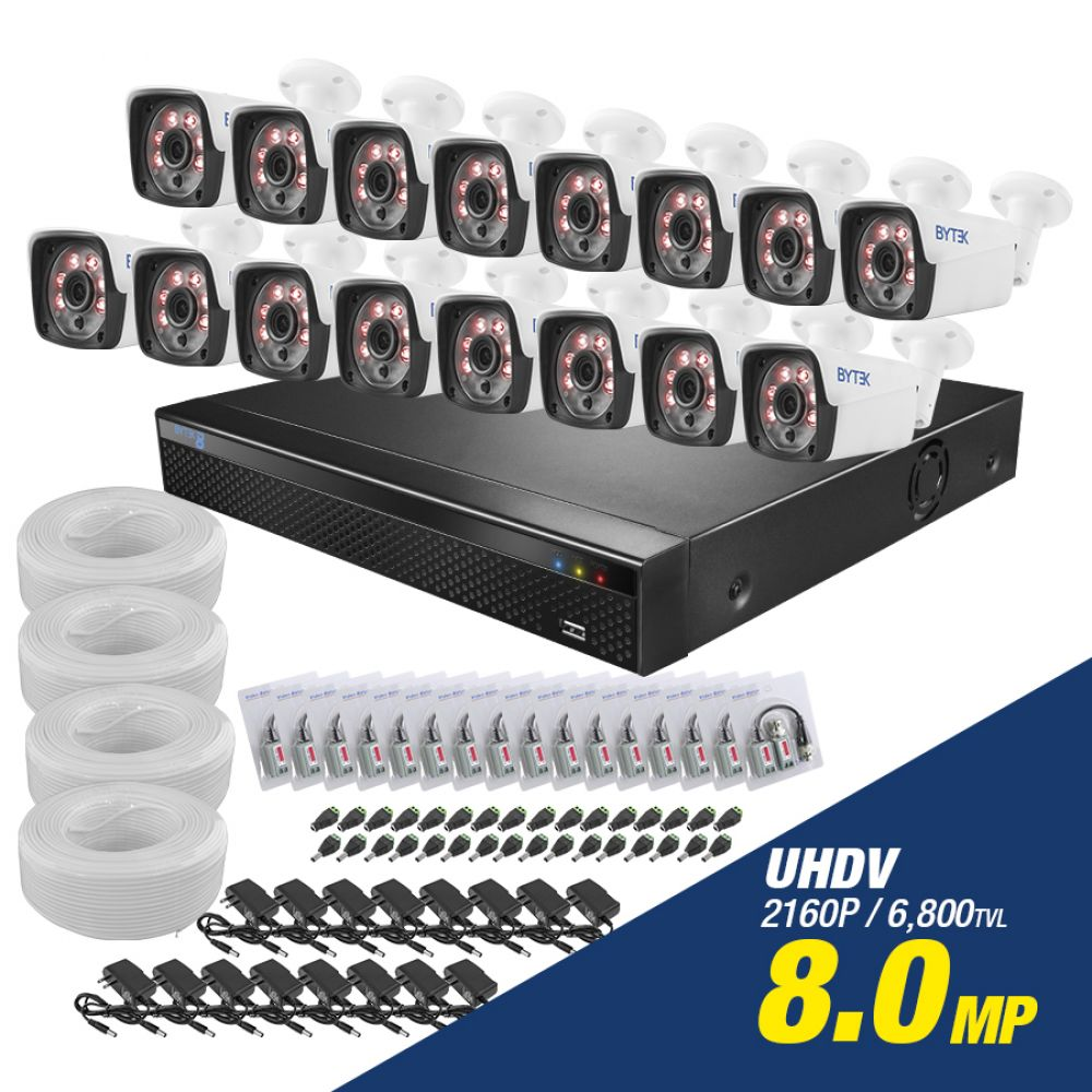 Kit de 16 camaras de 8.0mp UHDV 2160p + cable utp