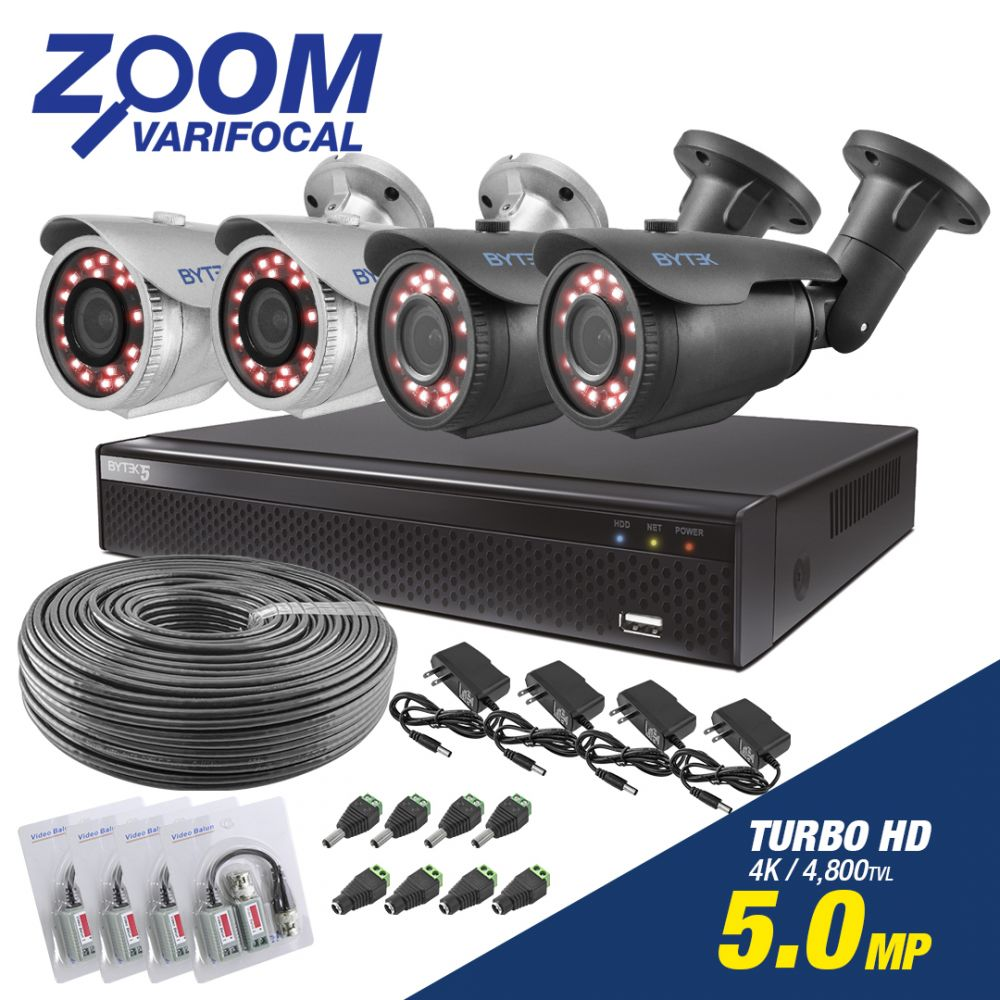 Kit de 4 camaras de 5.0mp UHDV 4k con Zoom Varifocal + cable utp
