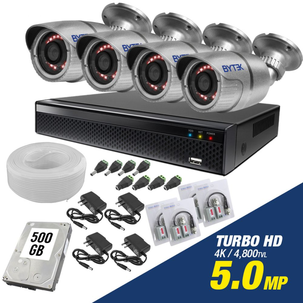 Kit de 4 camaras de 5.0mp Turbo HD 4K + disco duro 500GB