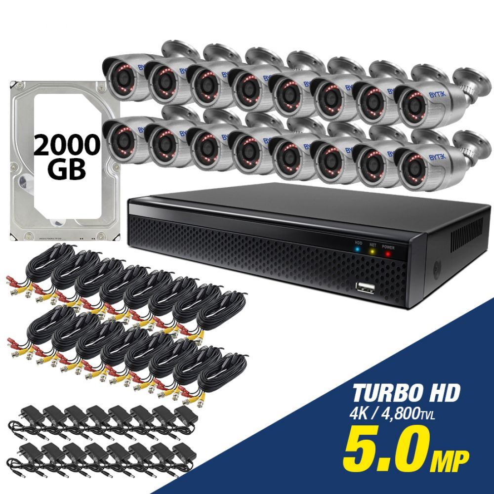 Kit de 16 camaras de 5.0mp Turbo HD 4K + disco duro 2000GB