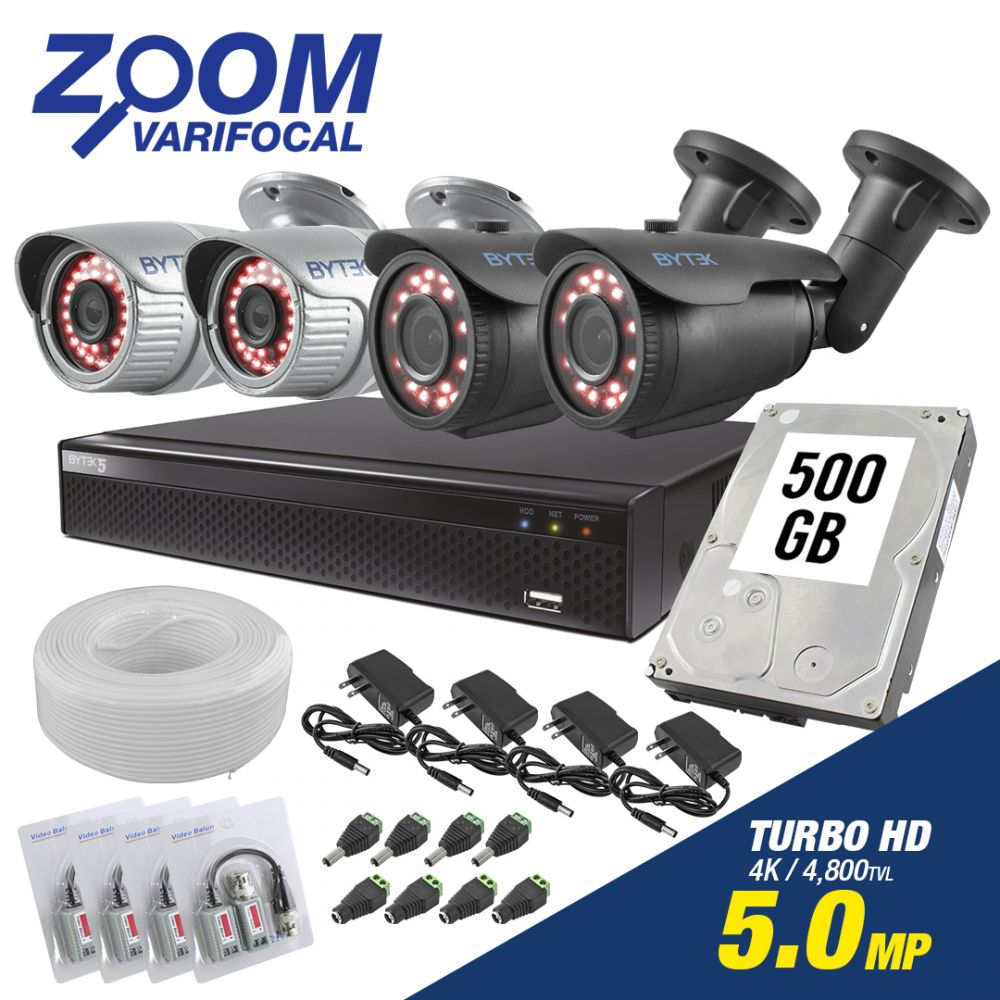 Kit de 4 camaras de 5.0mp UHDV 4k con Zoom Varifocal + Disco Duro 500GB
