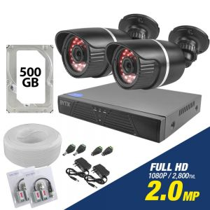 Kit de 2 camaras de 2.0mp Full HD 1080p + disco duro 500GB
