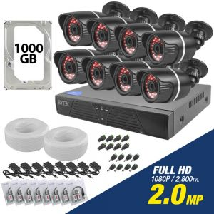 Kit de 8 camaras de 2.0mp Full HD 1080p + disco duro 1000GB