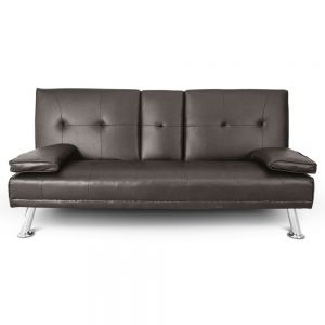 Sofa cama abatible de 3 posiciones con portavasos color chocolate