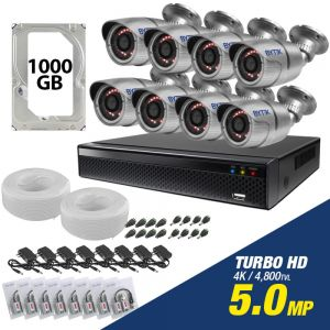 Kit de 8 camaras de 5.0mp Turbo HD 4K + disco duro 1000GB