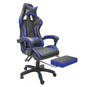 Silla Gamer Azul y Negro con Descansapies Reclinable