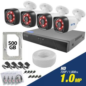 Kit de 4 camaras de 1.0mp HD 720p + disco duro 500GB