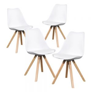 Kit 4 Sillas tipo eames modelo Oviedo color Blanco