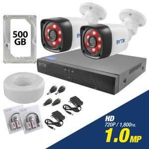 Kit de 2 camaras de 1.0mp HD 720p + disco duro 500GB