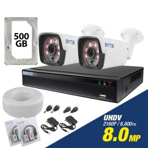Kit de 2 camaras de 8.0mp UHDV 2160p + disco duro 500GB y cable utp