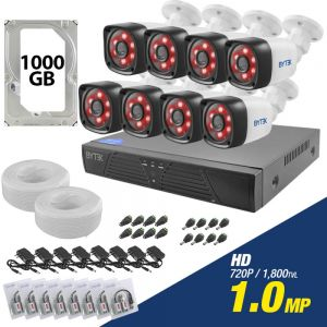 Kit de 8 camaras de 1.0mp HD 720p + disco duro 1000GB